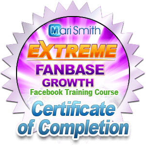 Extreme Fanbase Growth Facebook Training Course Certificate of Completion